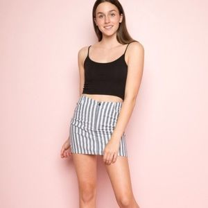 BRANDY white and blue striped high waisted skirt